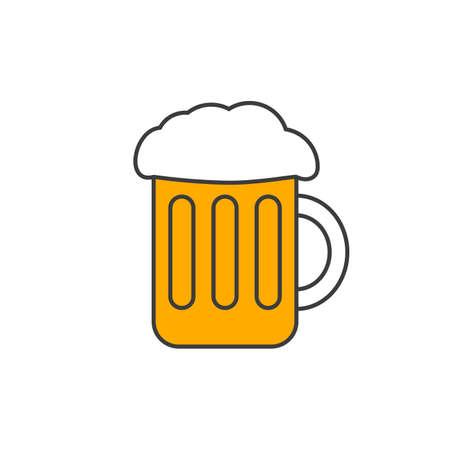 Beer mug outline icon. Glass with foam. Vector illustration. 向量圖像