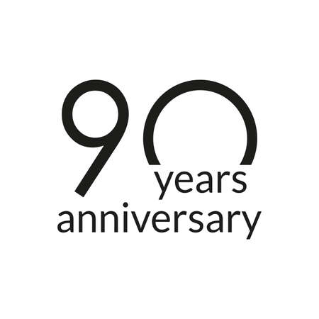 90 years anniversary celebrating icon or logo. Birthday, greeting card design template. Vector illustration.