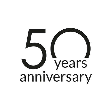50 years anniversary celebrating icon or logo. Birthday, greeting card design template. Vector illustration.
