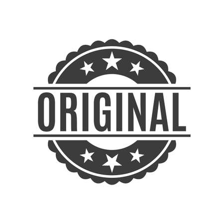 Original stamp or seal icon. Circle label for typography. Authentic quality product badge. Vector illustration.