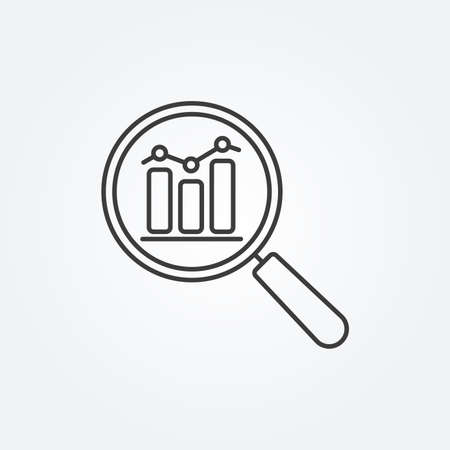Data analysis line icon with business graph or chart with magnifier. Ilustrace