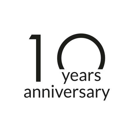 10 years anniversary celebrating icon or logo. Birthday, greeting card design template. Vector illustration.