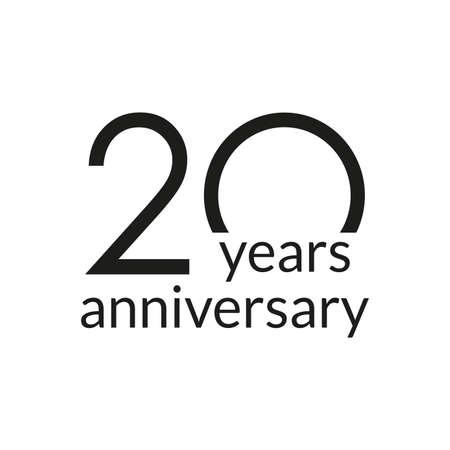 20 years anniversary celebrating icon or logo. Birthday, greeting card design template. Vector illustration. 向量圖像