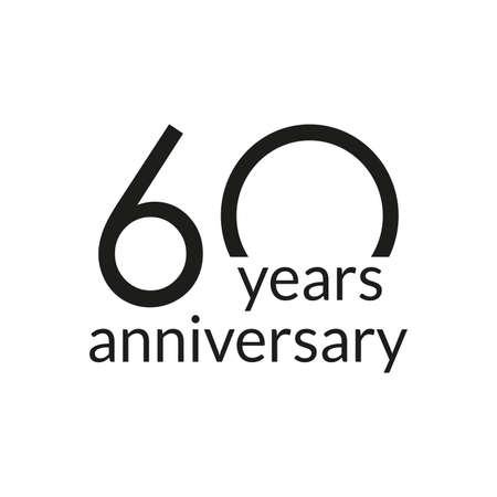60 years anniversary celebrating icon or logo. Birthday, greeting card design template. Vector illustration. 向量圖像