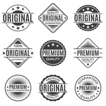 Original and Premium quality stamp or seal set. Guarantee label, emblem or badge collection. Vector illustration.