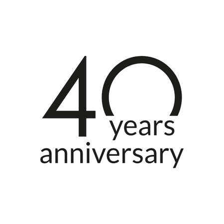 40 years anniversary celebrating icon or logo. Birthday, greeting card design template. Vector illustration. 向量圖像