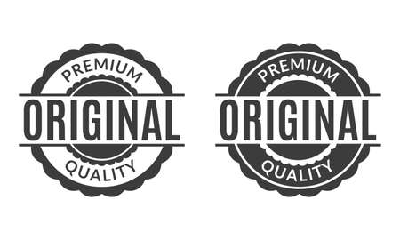 Original and Premium quality rubber stamp or seal set. Round vintage labels, emblems or badges. Vector illustration.