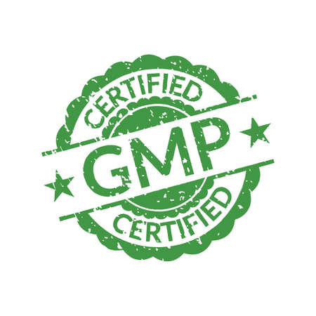 GMP stamp or seal. Good Manufacturing Practice Certified icon or logo. Vector illustration.
