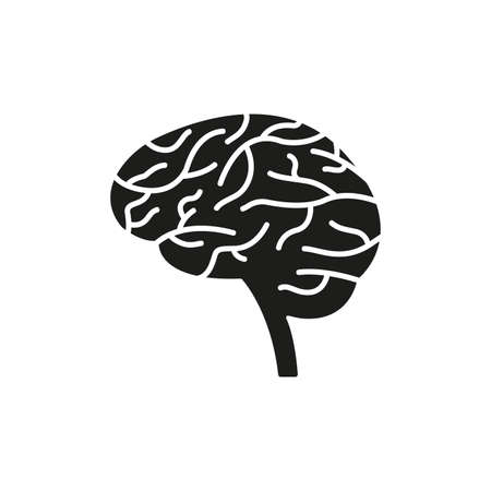 Brain icon. Human mind sign. Side view. Vector illustration.