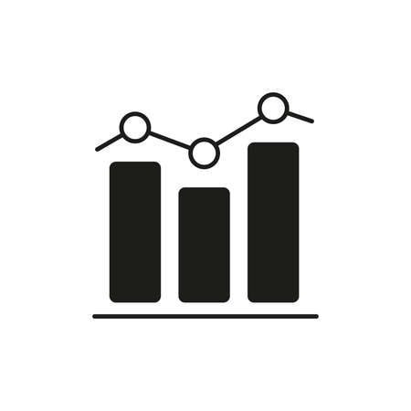 Graph icon. Business chart with bars for data analysis. Vector illustration. 向量圖像
