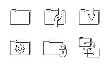 File and Folder line icon set. Document organize. Vector illustration.