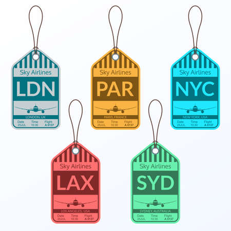 Luggage tag set. Travel and baggage stickers. Labels for suitcases in the Airport. Vector illustration. 向量圖像