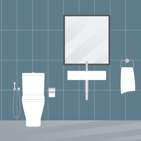 Bathroom interior with modern sink and toilet. Minimal design. Vector illustration.