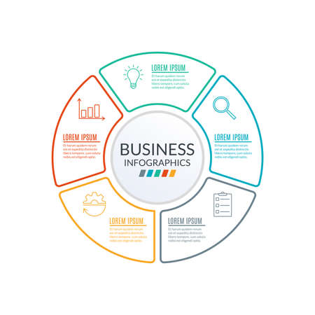 Circle infographic template. Outline Diagram with 5 elements or steps. Workflow, layout template. Business process and presentation concept. Organization chart. Vector illustration. Vettoriali