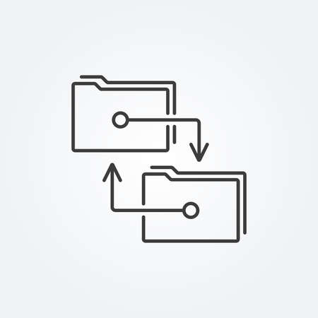 Folders with transfer arrows. File folders icon. Sync, archive, exchange data concept. Vector illustration.