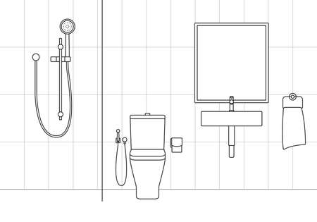 Bathroom interior with modern shower, sink and toilet. Minimal line design. Vector illustration. Vettoriali