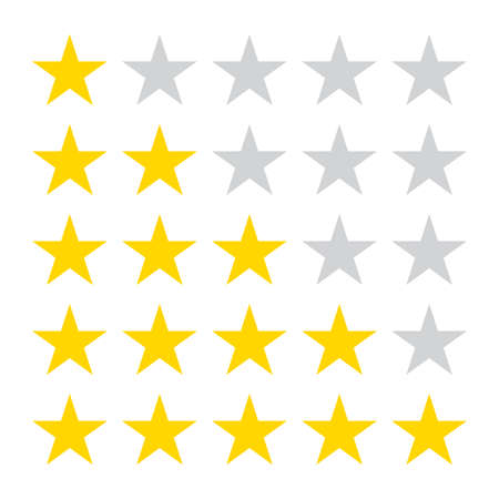 Star rating icons. 5 stars in the row for review. Vector illustration.