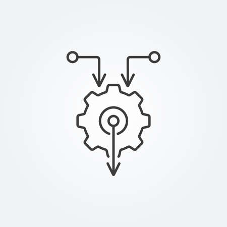 Gear line icon with arrows. Technology, integration concept. Vector illustration. 向量圖像