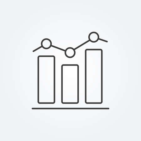 Graph line icon. Business chart with bars for data analysis. Vector illustration.