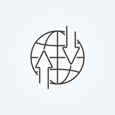 Globe line icon with arrows. Transfer or exchange concept. Vector illustration.