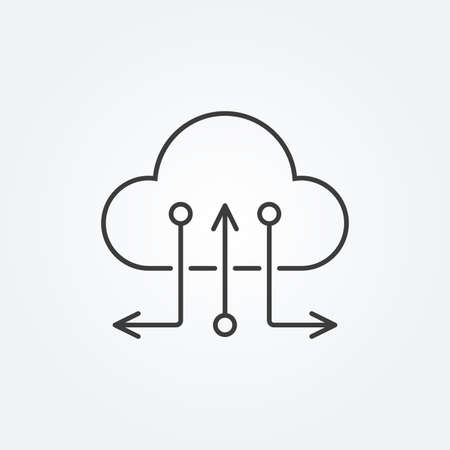 Cloud line icon with arrows. Upload and Download logo. Vector illustration. 向量圖像