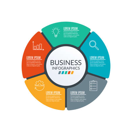 Circle infographic template. Diagram with 5 elements or steps. Workflow, layout template. Business process and presentation concept. Organization chart. Vector illustration. Vettoriali