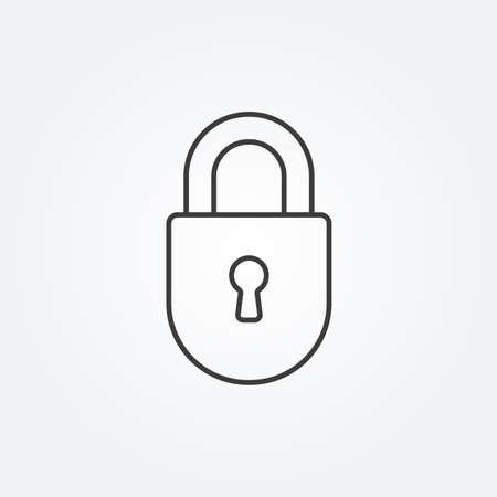 Lock line icon. Security and padlock symbol. Vector illustration.