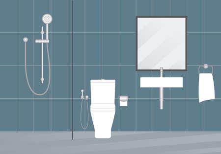 Bathroom interior with modern shower, sink and toilet. Minimal design. Vector illustration.