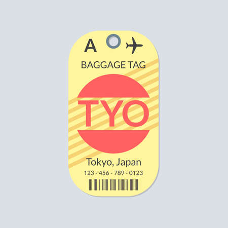 Tokyo Luggage tag. Airport baggage ticket. Travel label. Vector illustration.
