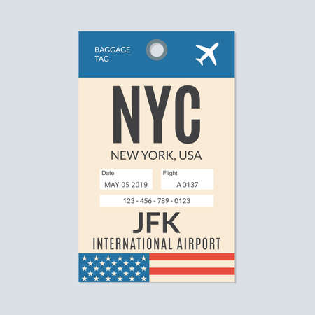 New York city luggage tag. Airport baggage ticket. Travel label. Vector illustration.
