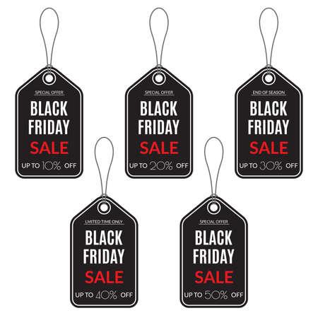 Black Friday Sale tag. Discount label. 10,20,30,40,50 percent price off. Vector illustration. 向量圖像