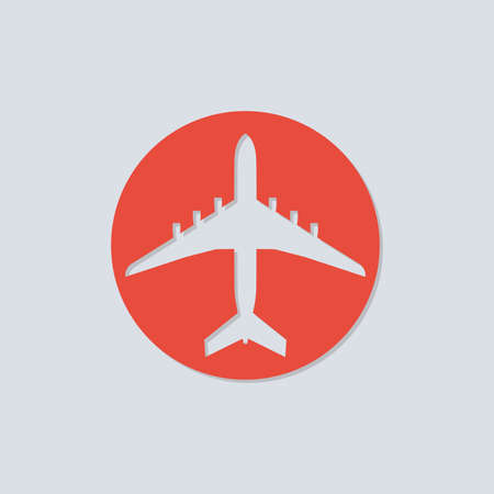 Plane icon. Airplane or aircraft silhouette. Circle element for travel design. Vector illustration.