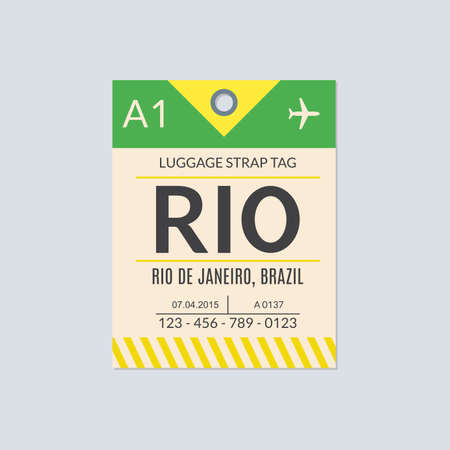 Rio de Janeiro Luggage tag. Airport baggage ticket. Travel label. Vector illustration. 向量圖像