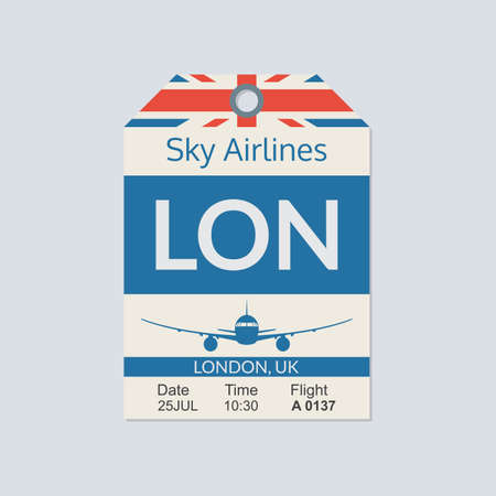London Luggage tag. Airport baggage ticket. Travel label. Vector illustration.