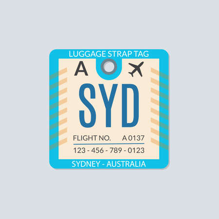 Sydney Luggage tag. Airport baggage ticket. Travel label. Vector illustration.