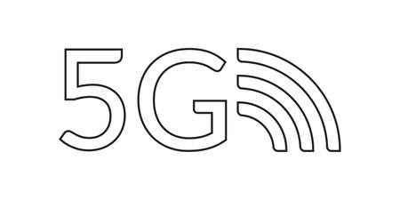 5G outline icon. High speed wifi or wireless network  . Mobile Internet technology symbol. Vector illustration.