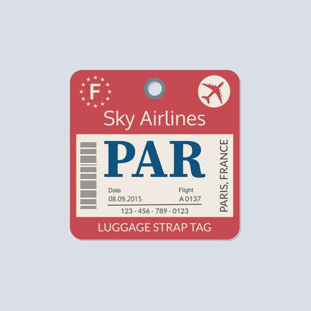 Paris Luggage tag. Airport baggage ticket. Travel label. Vector illustration.