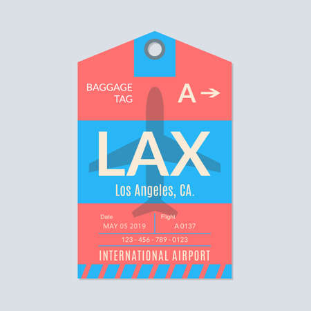 Los Angeles luggage tag. Airport baggage ticket. Travel label. Vector illustration.