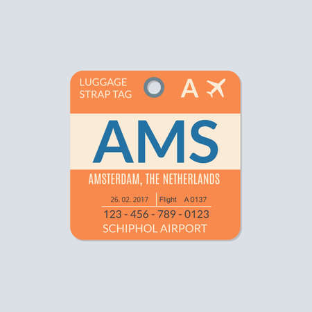 Amsterdam Luggage tag. Airport baggage ticket. Travel label. Vector illustration.