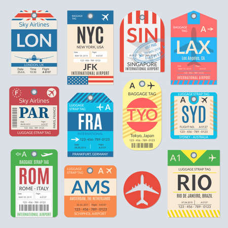 Luggage tag set. Airport baggage tickets. Travel labels. Vector illustration.