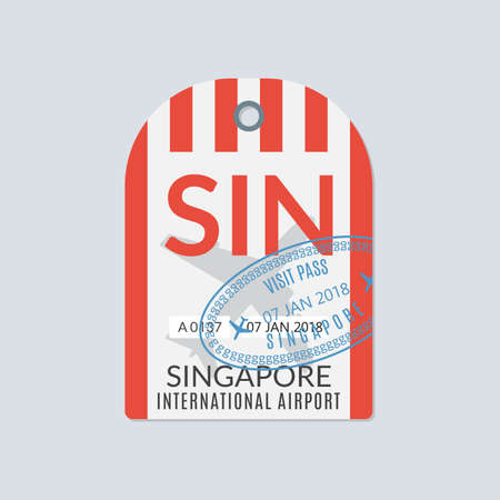 Singapore Luggage tag. Airport baggage ticket. Travel label. Vector illustration. 向量圖像