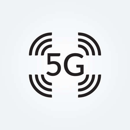 5G icon. High speed wifi or wireless network logo. Mobile Internet technology symbol. Vector illustration.
