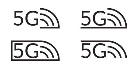 5G icon set. High speed wifi or wireless network  . Mobile Internet technology symbols. Vector illustration.