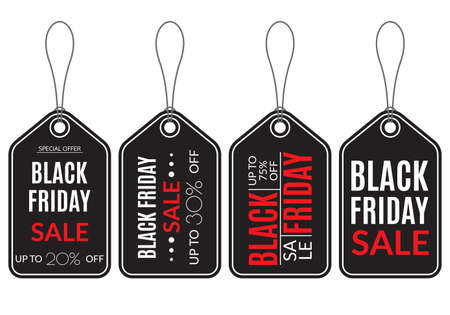 Black Friday Sale tag set. Price off, discount banner. Up to 20.30 or 75 percent off. Vector illustration.