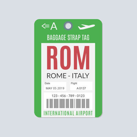 Rome Luggage tag. Airport baggage ticket. Travel label. Vector illustration. 向量圖像