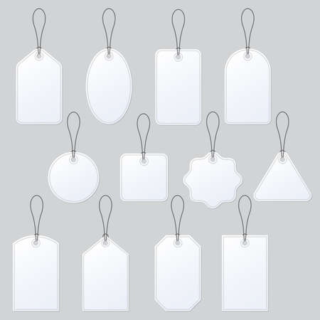Price tag blank set. Empty string labels for sale, gift, promotion. Paper white badges template with rope. Vector illustration.