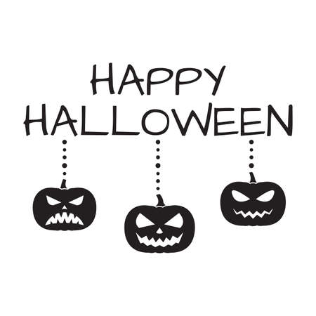 Happy Halloween text with Halloween pumpkins isolated on white background. Party banner or text design template. Vector illustration.