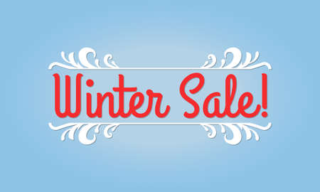 Winter sale text. Discount banner. Clearance, flyer, promotion poster design template. Vector illustration.
