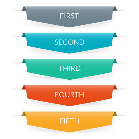 Ribbon banner design. Infographic labels or tabs with 5 options