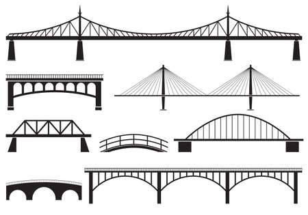 Bridge icon set. Different bridges silhouettes. Vector illustration.